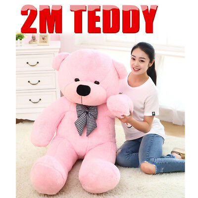 2M Pink Teddy Bear Giant Huge Cuddly Stuffed Soft Plush Animal Doll Toy Gift