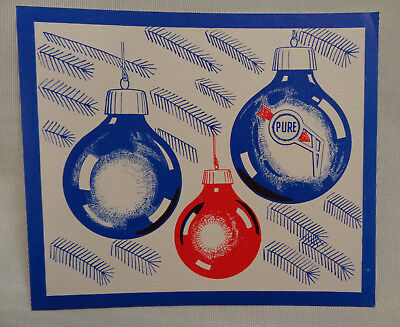 1950's Pure Oil Company Holiday Christmas New Year Greeting Card Advertisement