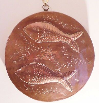 "Antique Newlyn Style Copper Plaque - Fish - Initialled ""a.n"""