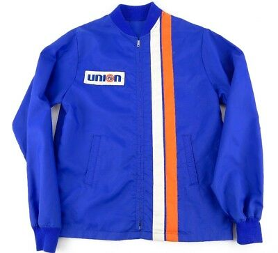 Union 76 Gas Station Vintage Jacket RARE W/ Orange White Racing Stripes S or M