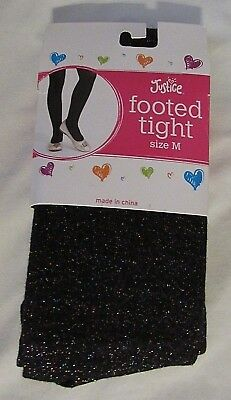 New Justice Girls Black Multi-Color Metallic Size Xs/medium/large Footed Tights