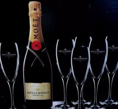 6 X Moet Chandon Champagne Glasses Flutes Cheapest On Ebay