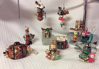 VTG ENESCO ORNAMENTS LOT OF 10 Members Only Friendship Brewing Santas Suitcase