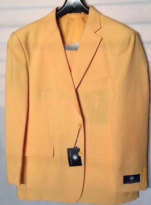 NEW Mens 2 Button Suit Vittorio St. Angelo Solid Color yellow Size46R/40W$129.99