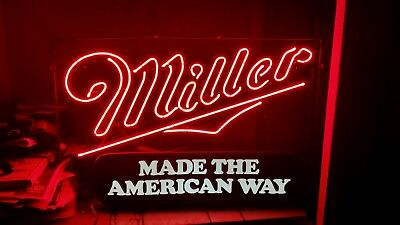 (Vintage) Miller High Life Made The American Way Beer  Sign Rare Style, 1986