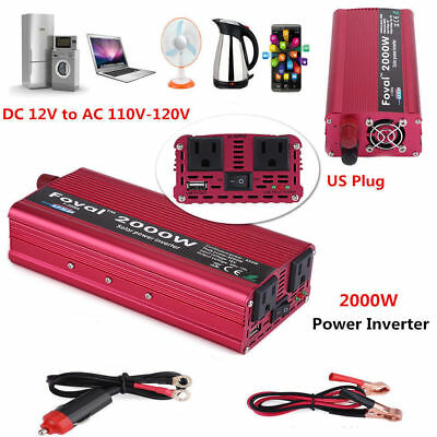 New 2000W DC 12V to AC 110V Car Power Inverter Charger Converter for Electronic