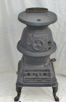 """Vintage Licking Stove Co. 24"""" Boom Cannon #122 Cast Iron Pot Belly Stove"""