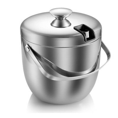 Ice Bucket Insulated Stainless Steel Double Walled with Lid Tongs 2.8L Silver