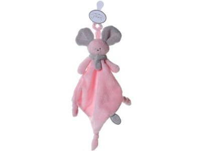 Mona tuttie rose&grisclair, souris doudou attache tetine