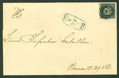 DENMARK 1852, 2RBS Ferslew Printing, tied on Foot Post cover Moller cert