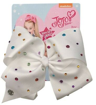 Jojo Siwa Large Signatue White Bow With Multi Colored Rhinestones- same day ship
