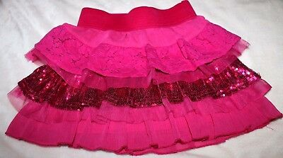 Hot pink tiered skirt size 4 tulle lace sequins sparkle bling wide comfort waist