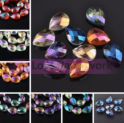 5pcs Rondelle Teadrop Faceted Crystal Glass Loose Spacer Beads Lot 18mm 24mm DIY