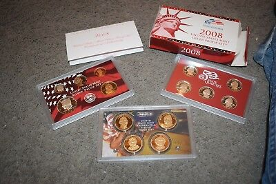 2008 SILVER PROOF SET 14 COINS ORIGINAL U.S. MINT RED PACKAGING and CERTIFICATE