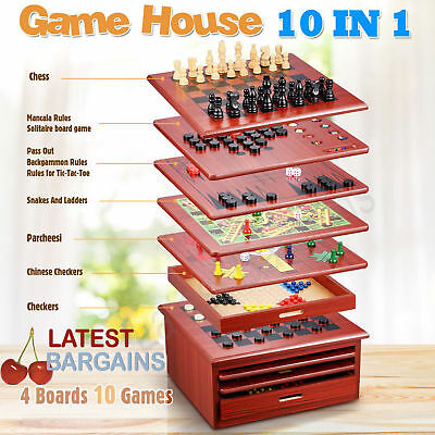 10 In 1 Wooden Chess Board Games Slide Out Best Checkers House Unit Set - Brown