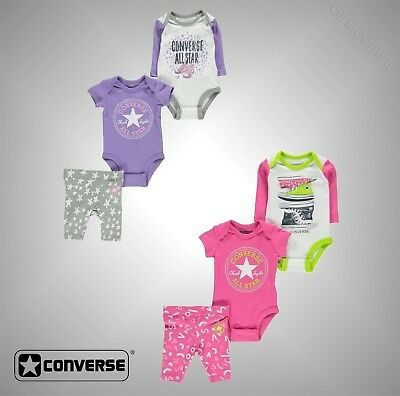 Kids Boys Girl Converse All Over Printed Creeper 3 Piece Set Size 0-12 Mnth