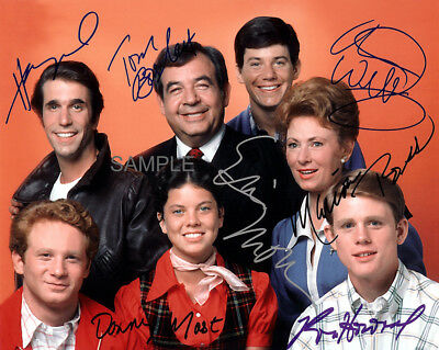 HAPPY DAYS TV SHOW FULL 7 CAST FONZ BOSLEY HOWARD SIGNED 8x10 REPRINT PHOTO RP