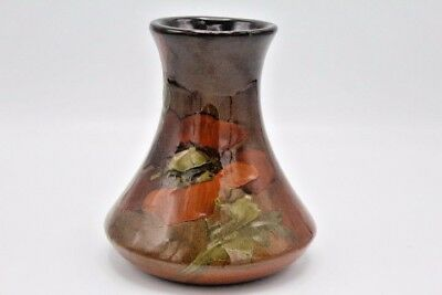 "Vintage Rookwood Style Owens Pottery Vase Brown with Flowers ~ 6"" Tall"