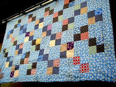 Vintage 30's four patch quilt top feed-sack fabric