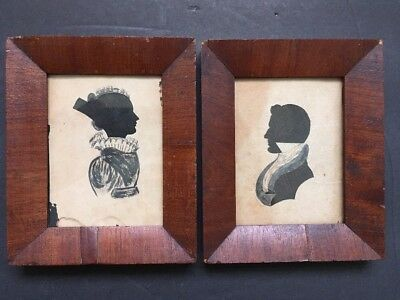 Folk Art C1820s Pair Of Hollow Cut Silhouette Antique Silhouette Watercolor Body
