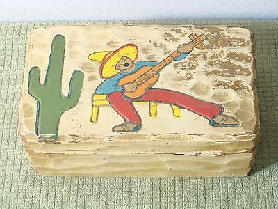 Hand Carved And Painted Very Old Mexican Wooden Box Fabric Hinge Rare Folk Art!!