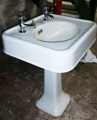 White Antique Pedestal Sink Square 1920's Era with fixtures American Standard ?