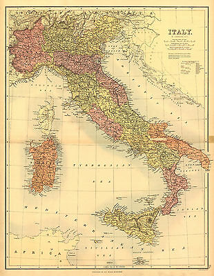 """1890 ITALY MAP, 20""""x14"""", Europe, antique map, Beautiful print"""