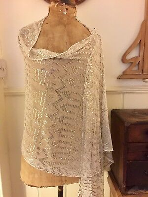 Antique Egyptian Assuit Real Silver on white Shawl.