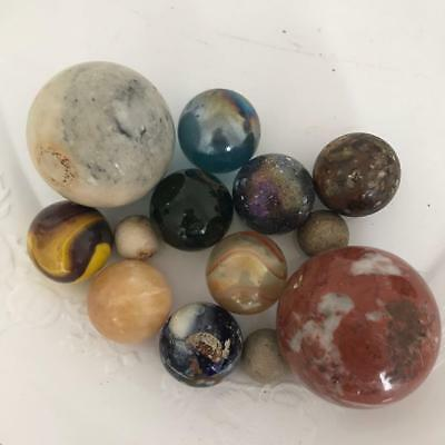 Vintage Antique Marbles Handmade Clay Stone Glass Shooters Lot of 13