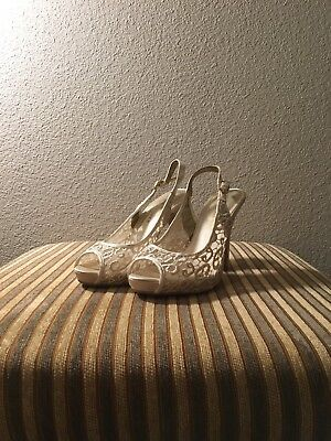 Light ivory lace silk satin mesh Wedding shoes Bridal size 7