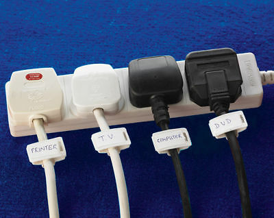 Set Of 10 TV, Computer, Cable & Electrical Cord Name Clips Label Brand New