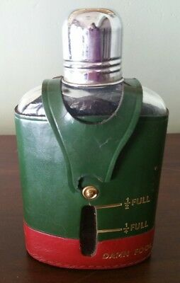 Vintage Real Hide Glass Leather Liquor Flask Made in England