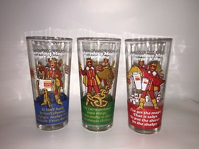 Burger King (C) 1978 Marvelous Magical ShakeGlass OnionRing and Fries 3 Glass