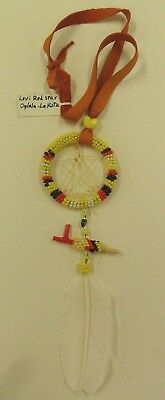 Native American Beaded Dream Catcher W/ Feather - Artist: Levi Red Star - Sioux