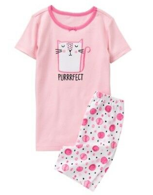 ca764ad2bf69 GYMBOREE SLEEPWEAR PINK w  CAT Purrfect 2pc GIRL PAJAMA GYMMIES 12 ...