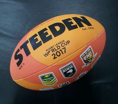 Steeden Rugby League World Cup 2017 Full Size 5 All Team Logo Ball NRL *NEW*