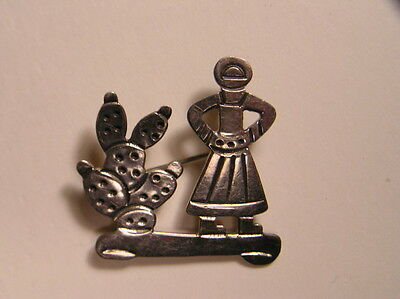 Vintage Mexican Sterling Cactus Girl Pin