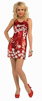 Women's Plus Size Racy Red Sequin Merry Christmas Party Costume Dress XL 16-22