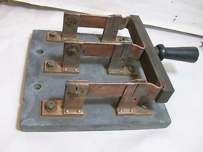 Indiana Shop Find=X-Large Vintage Trumbull 200 Amp Triple Copper Throw Switch