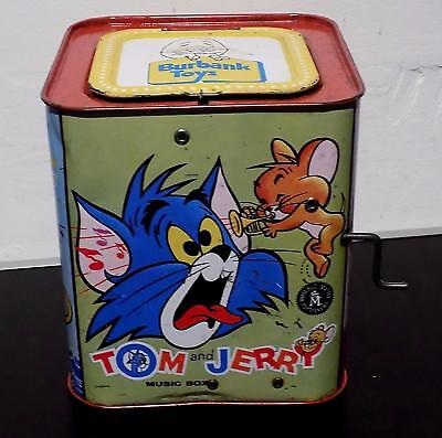 Vintage Tinplate Musical Tom & Jerry Jack in the Box Toy, Mattel, 1970s