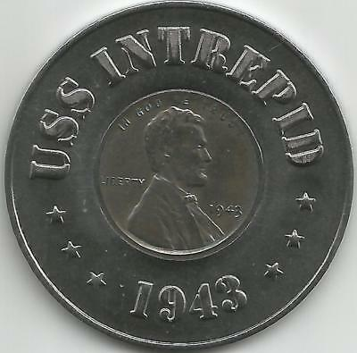 USS Intrepid Steel Ball marker w/ a Penny from 1943 Brand new Hot off the Press!