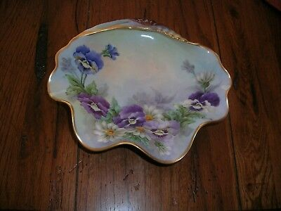 Vintage Retro Ugly Grandma Style Candy Glass Dish Painted Purple Blue & Gold