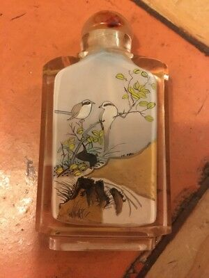 Oriental Glass Perfume/Scent Bottle 2 Sided Art Work