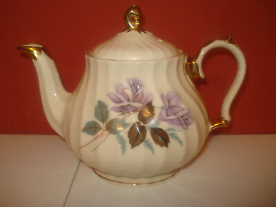 Vintage Sadler Guilded Porcelain Teapot with Roses