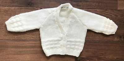 NEW Hand Knitted Baby Cardigan In Cream Colour Yarn  - Size 0-3 Months