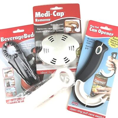 Lot of 4 Ring Pull Can Jar Twist Cap Opener For Arthritis Elderly Disabled Gift