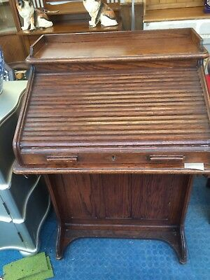 Edwardian Oak Roll Top Desk