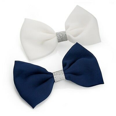 2x BOW HAIR CLIPS W/GLITTER GIRL LADY HAIR CLIP NAVY BLUE WHITE PINK HAIR BOW UK