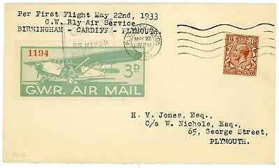 GB 1933 (22nd May) 11/2d on GWR First Flight Cover Birmingham-Cardiff-Plymouth
