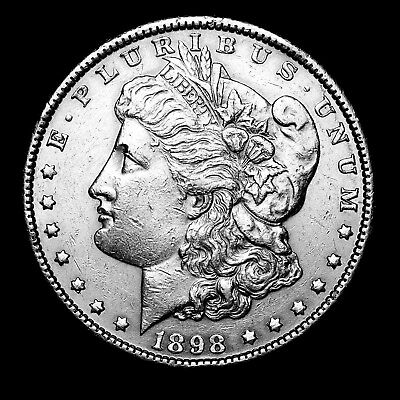 1898 P ~**ABOUT UNCIRCULATED AU**~ Silver Morgan Dollar Rare US Old Coin! #878